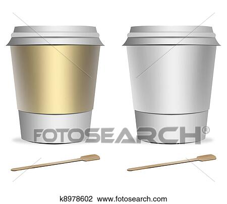 Clip Art of 2 plastic coffee cup templates k8978602 - Search Clipart