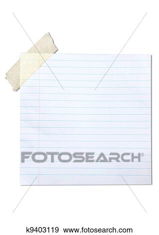Stock Photograph of lined blank paper stuck with brown tape k9403119