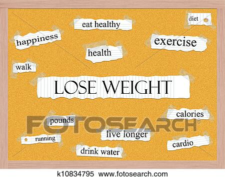 Stock Image of Lose Weight Corkboard Word Concept k10834795 - Search
