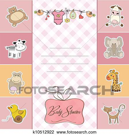 Clipart of new baby girl announcement card k10512922 - Search Clip