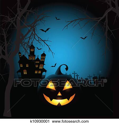 Clipart of Spooky halloween background k10930001 - Search Clip Art