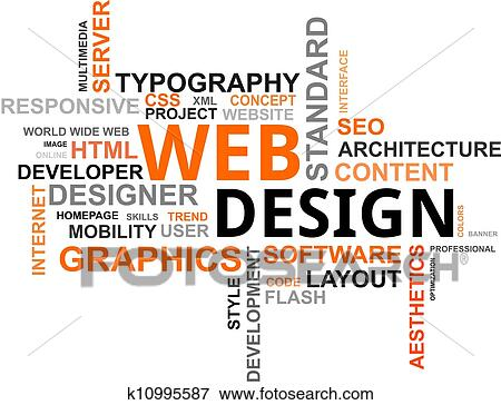 Stock Illustration of Word cloud - web design k10995587 - Search EPS
