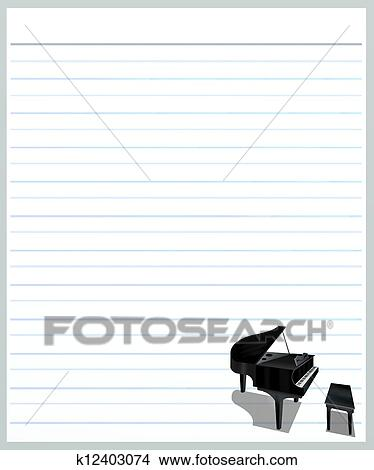 Drawings of A Piano on Grey Color Lined Paper k12403074 - Search - color lined paper
