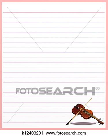 Clipart of A Violin on Pink Color Lined Paper k12403201 - Search - color lined paper