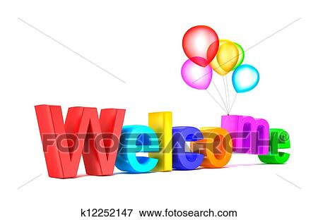 Picture of Colorful welcome word with balloons k12252147 - Search