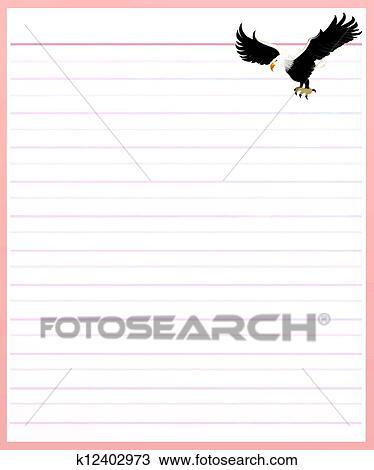 Drawing of Eagle on Pink Color Lined Paper k12402973 - Search - color lined paper