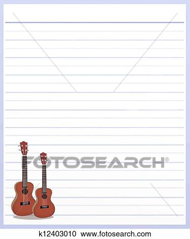 Stock Illustrations of Two Guitar on Purple Color Lined Paper