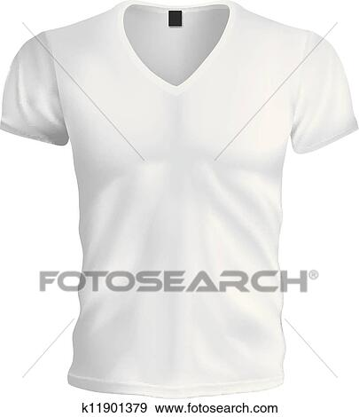 Clip Art of White Vneck Tshirt Template k11901379 - Search Clipart