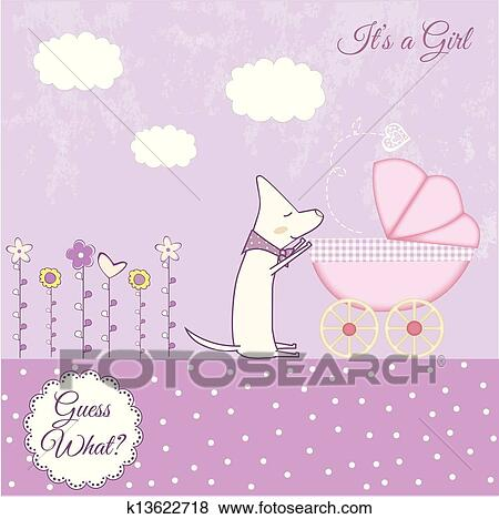 Clip Art of Baby girl announcement k13622718 - Search Clipart