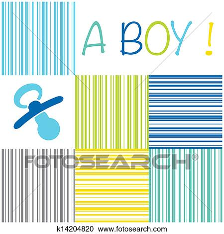 Clipart of Baby newborn birth announcement card boy with a dummy on