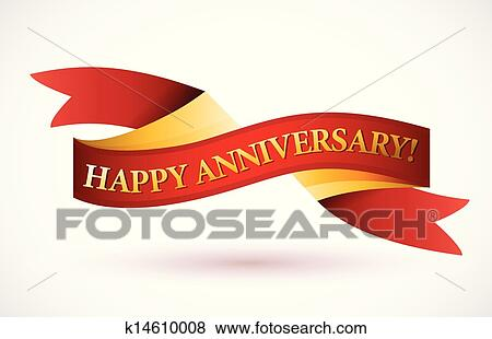 Clip Art of happy anniversary red waving ribbon banner k14610008