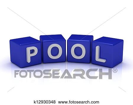 POOL word on blue cubes Stock Illustration k12930348