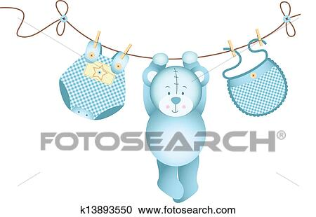 Clipart Of Teddy Bear Baby Boy Hanging K13893550 Search