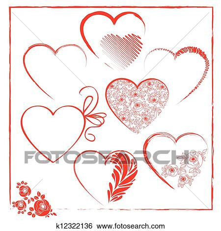 Valentines day templates elements Clip Art k12322136