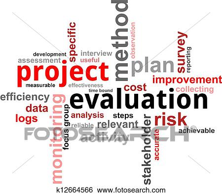 Stock Illustration of word cloud - project evaluation k12664566