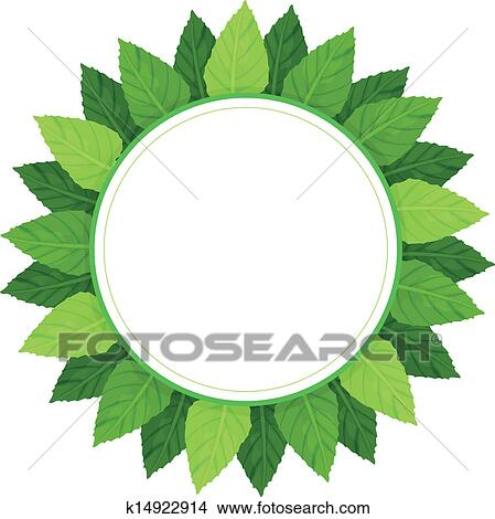 Clipart of An empty round template surrounded with green leaves