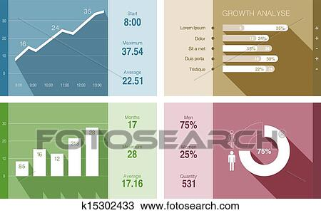 Clipart of Infographics vector flat design Financial Business