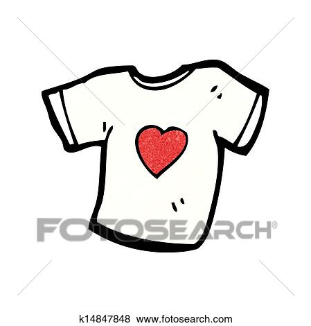 Love heart tee shirt cartoon Clip Art