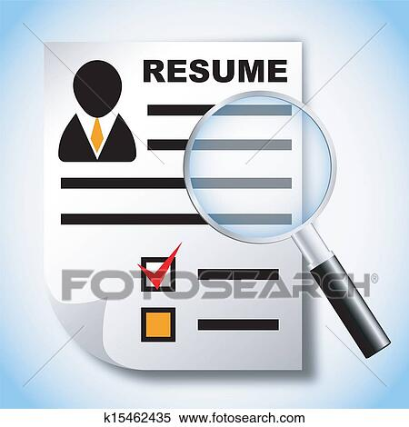 Clipart of Resume and magnifying glass k15462435 - Search Clip Art