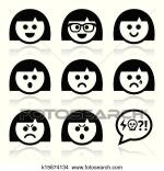 Clipart Of Smiley Girl Or Woman Faces Avatar K Search Clip