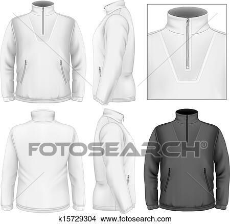 Clipart of Men\u0027s fleece sweater design template k15729304 - Search