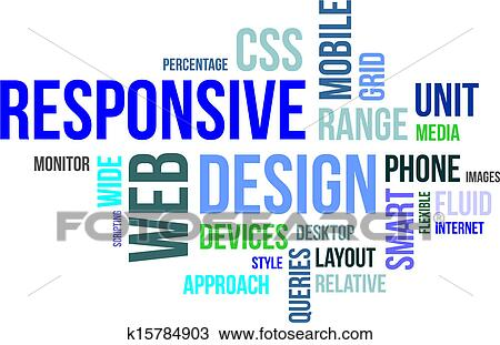 Clipart of word cloud - responsive web design k15784903 - Search