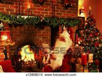Stock Photo of view of Santa sitting in a decorated living ...