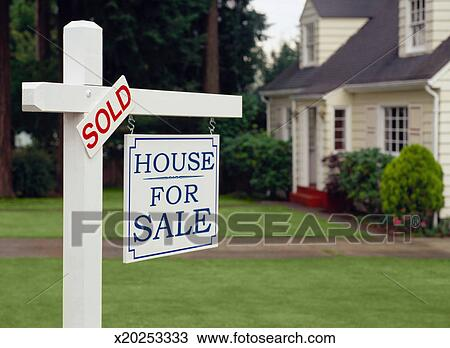 Stock Photo of Sold Sign on a House for Sale Sign x20253333 - Search - forsale sign