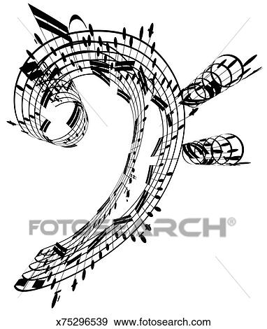 Stock Illustration of Bass Clef made of music notes x75296539 - clef music