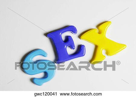 Stock Photography of Close-up of alphabets spelling the word sex - word alphabets