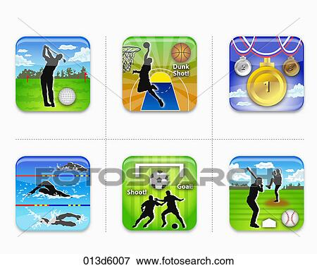 Stock Illustration of various types of sports game icon 013d6007