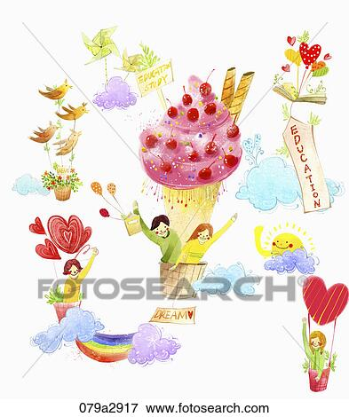 Various images for English education with balloon Stock Illustration