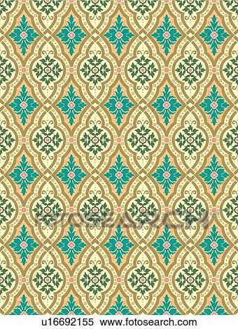Clipart of Fancy background pattern in teal and gold u16692155
