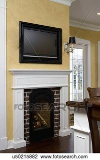 Stock Photo of FIREPLACES close up of bed and breakfast ...