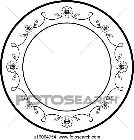 Clipart of , blank, border, circle, fancy, flourish, folk art, frame