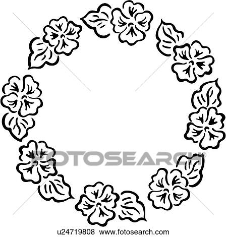 Clip Art of , border, circle, fancy, floral, folk art, frame, simple