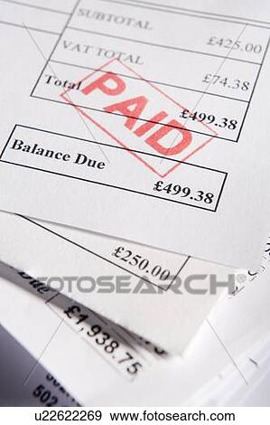 Stock Photograph of Paid Invoices u22622269 - Search Stock