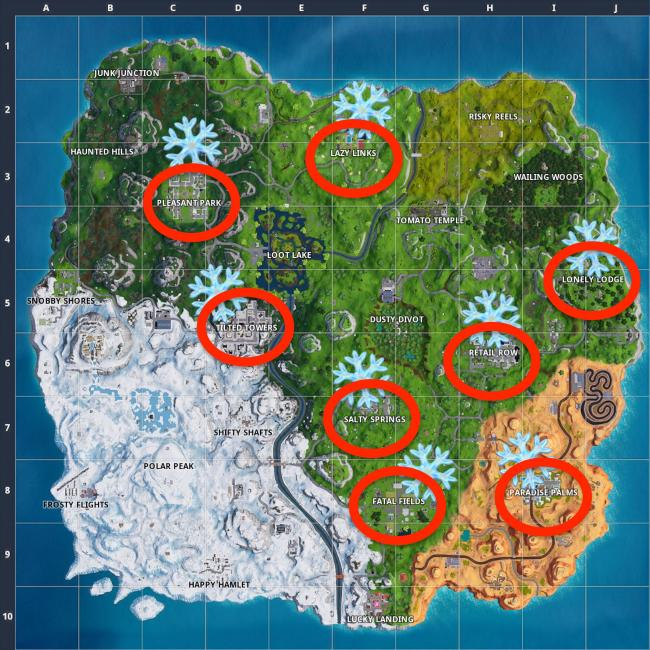 Decoration Location 'fortnite' Snowflake Locations Map: Where To Destroy 12 Of