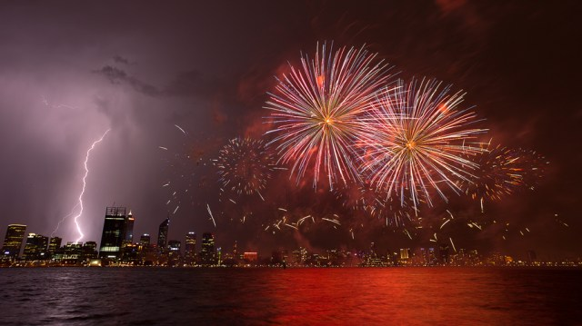 Using a remote cord photographing fireworks