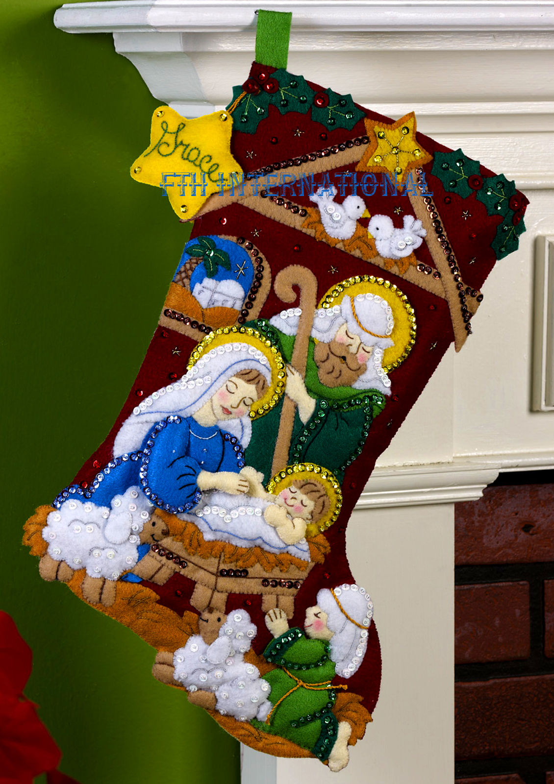 "Applique Vintage Nativity 18"" Bucilla Felt Christmas Stocking Kit #86449"