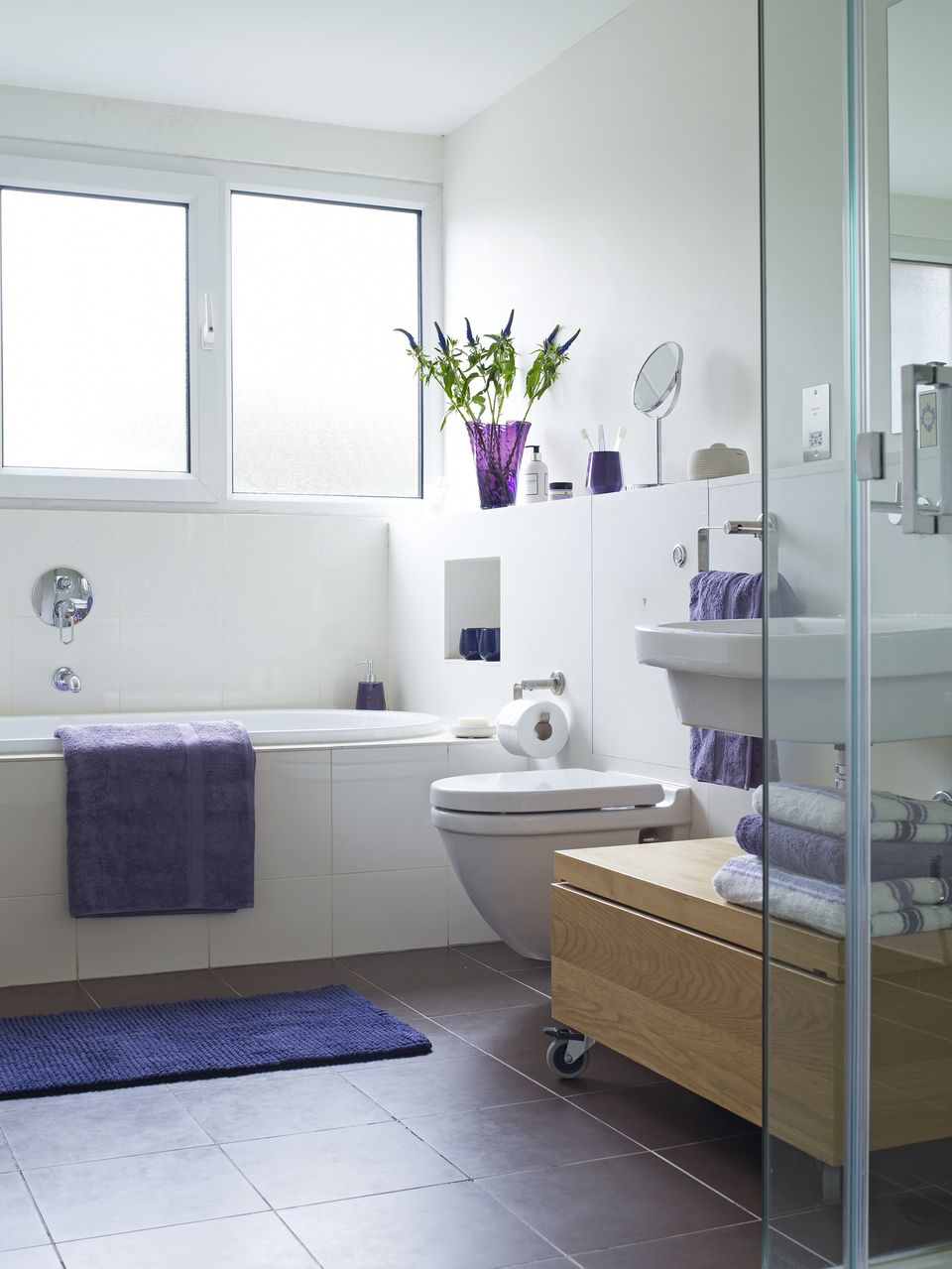 Small bathroom with purple accents