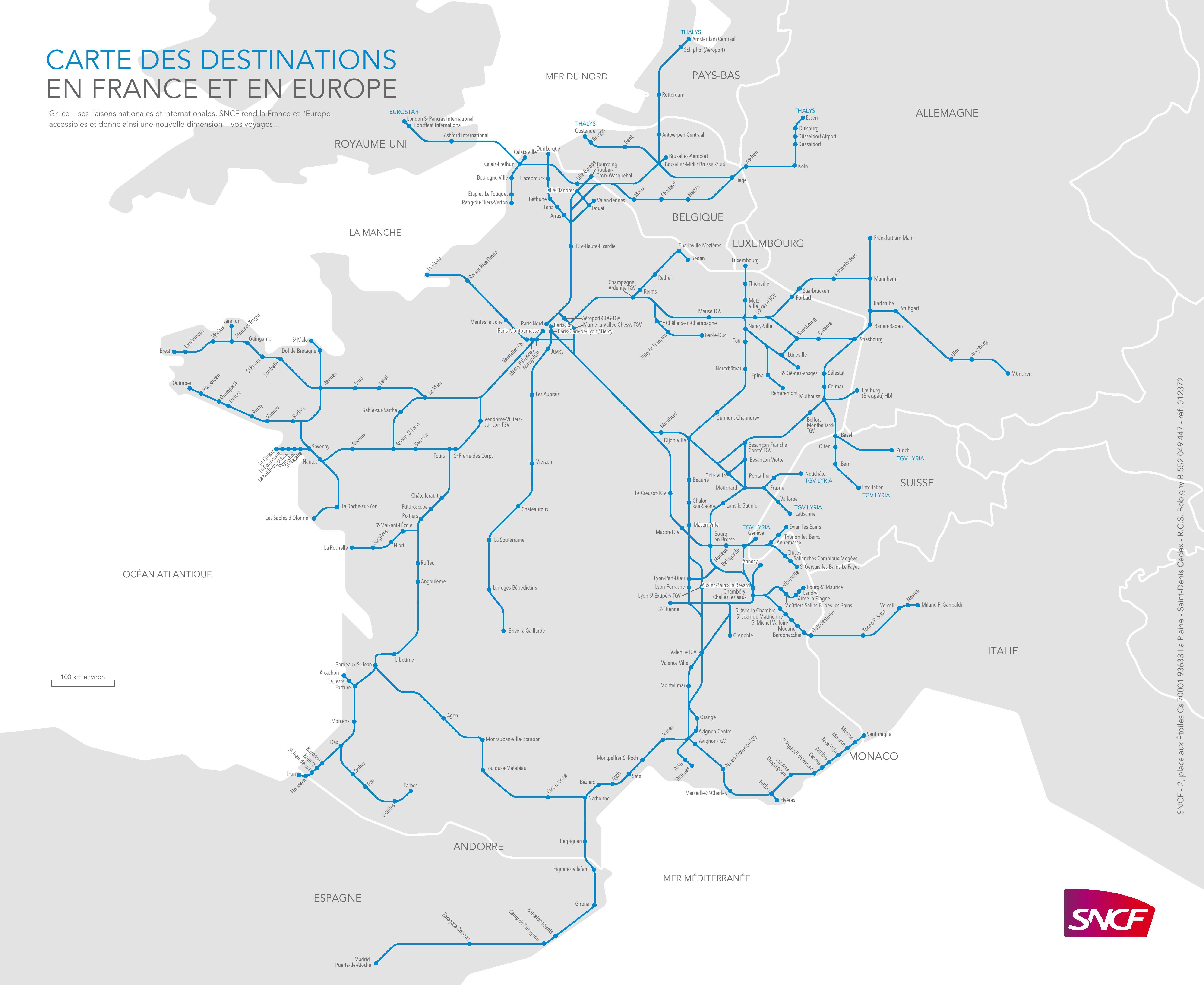 Toulouse Avignon Train Map Of Tgv Train Routes And Destinations In France