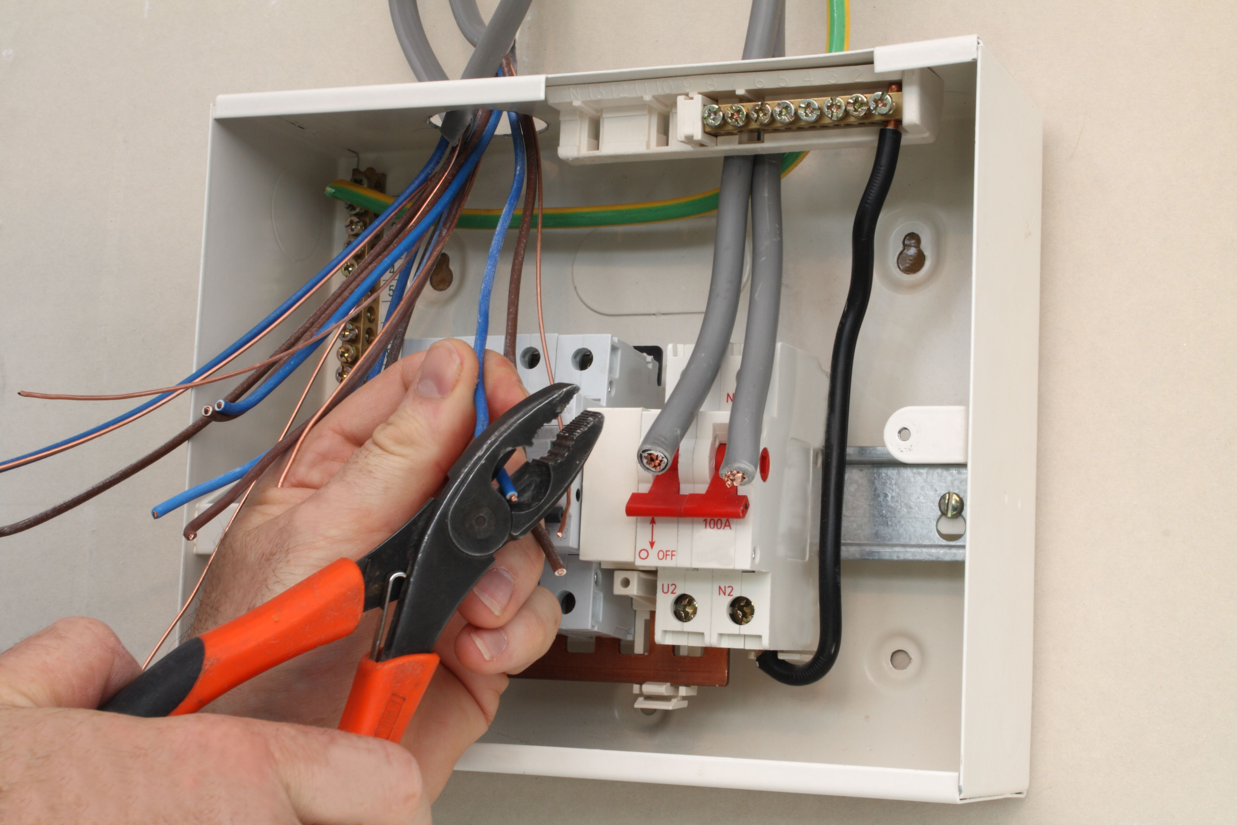 blown electrical fuse box