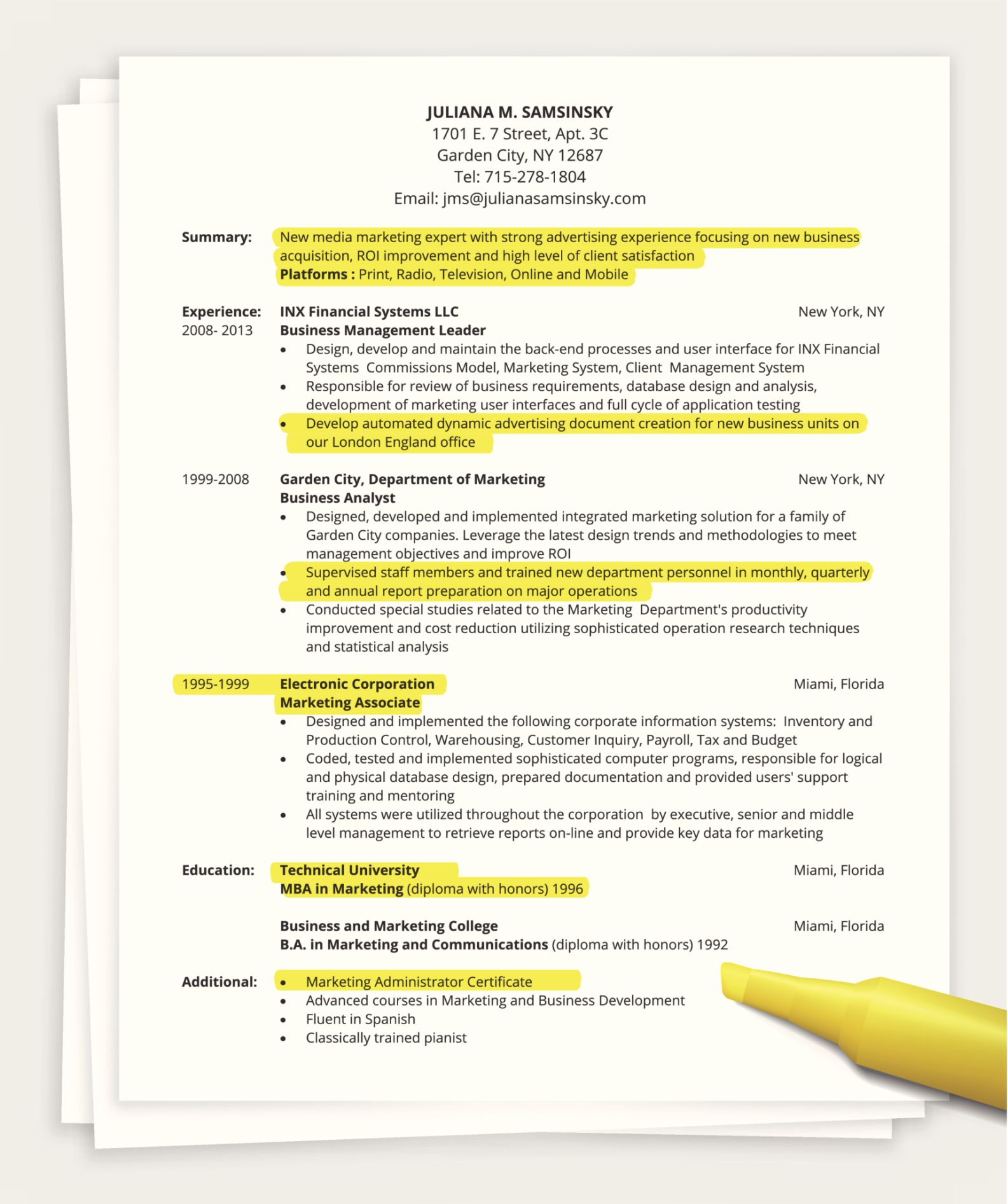 resume tips one page