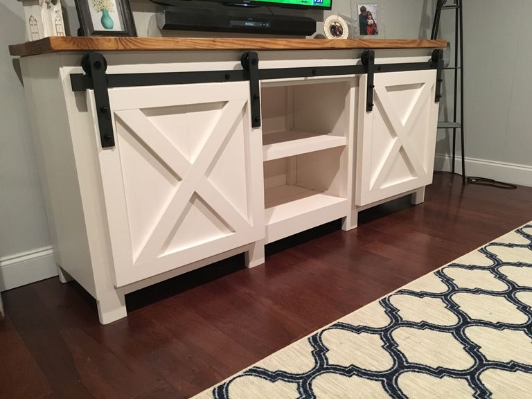 Sliding Barn Door Entertainment Center 9 Free Tv Stand Plans You Can Diy Right Now