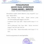 Akhir Masa Bimbingan dan Waktu Ujian Tugas Akhir Genap 2015
