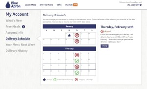 Blue Apron delivery schedule