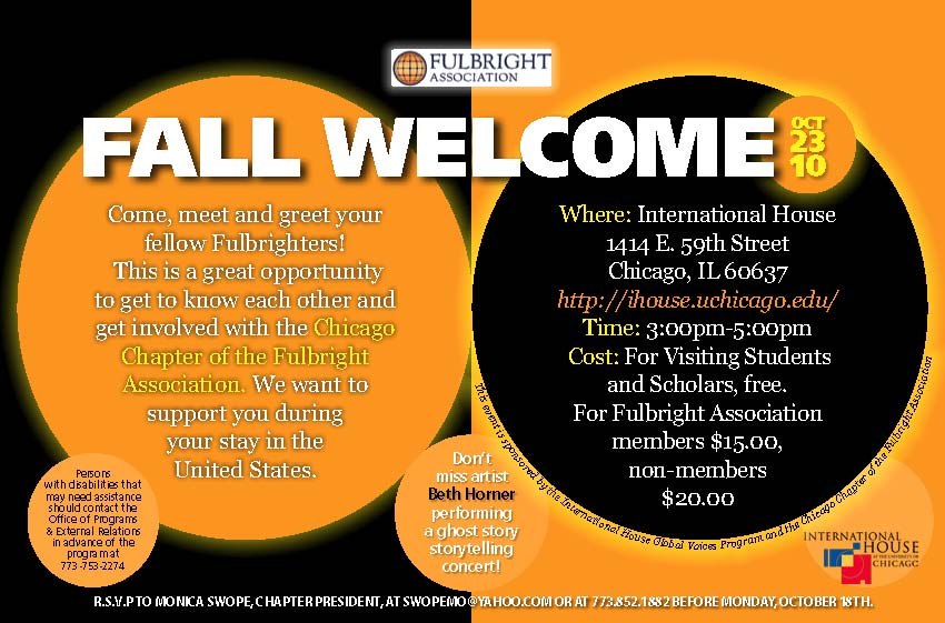 Fall Welcome for everybody and you are invited! FulbrightChicago - business meet and greet invitation wording