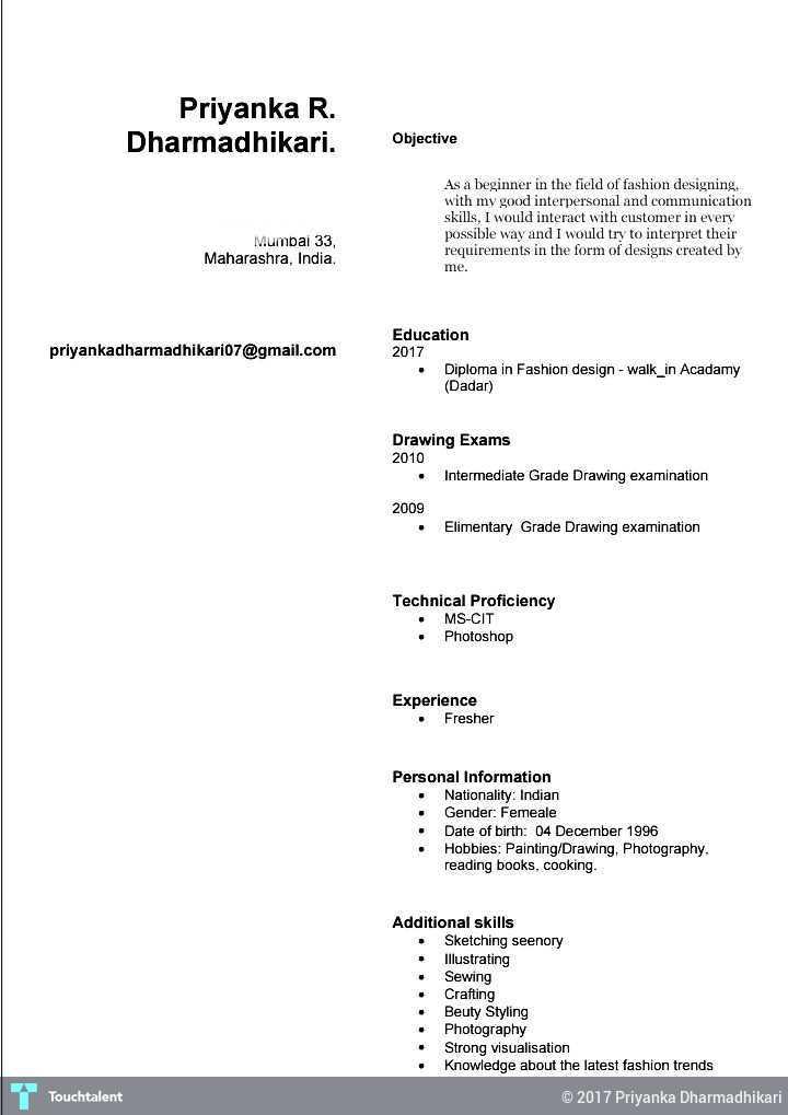 FASHION DESIGNER RESUME - CV (priyanka Dharmadhikari) Touchtalent