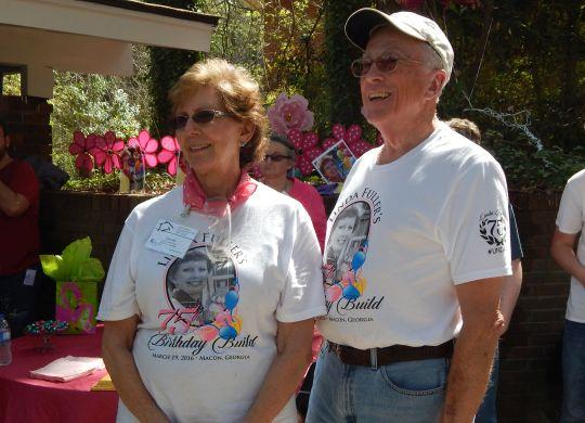 Co-founder Linda Fuller celebrated at build in Macon, Georgia